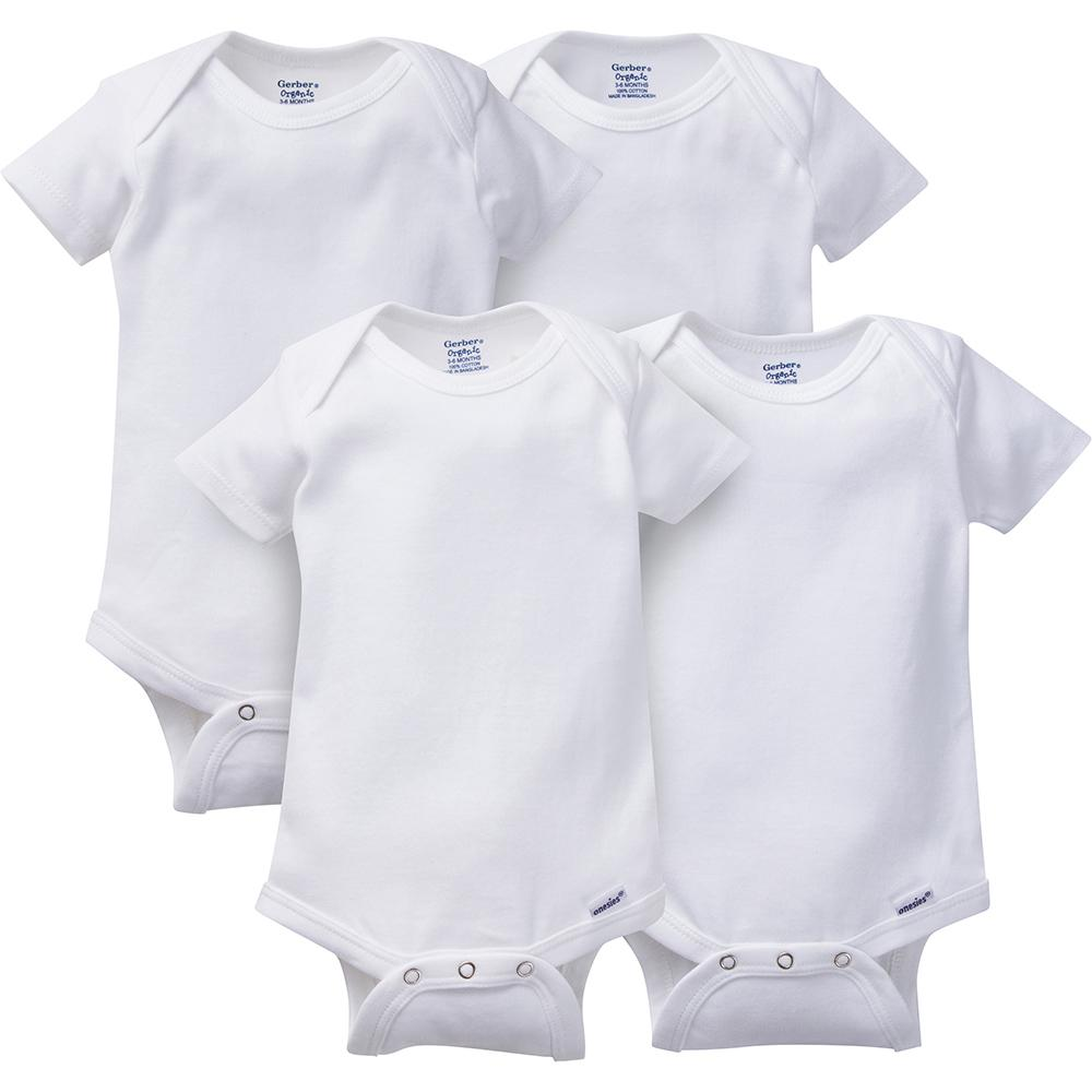 2b4244de3 4-Pack White Organic Onesies® Brand Short Sleeve Bodysuits – Gerber  Childrenswear