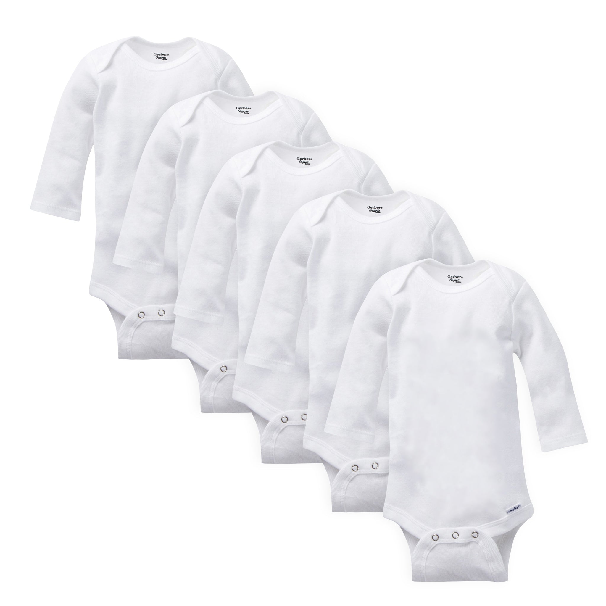 5-Pack White Organic Long-Sleeve Onesies Bodysuits
