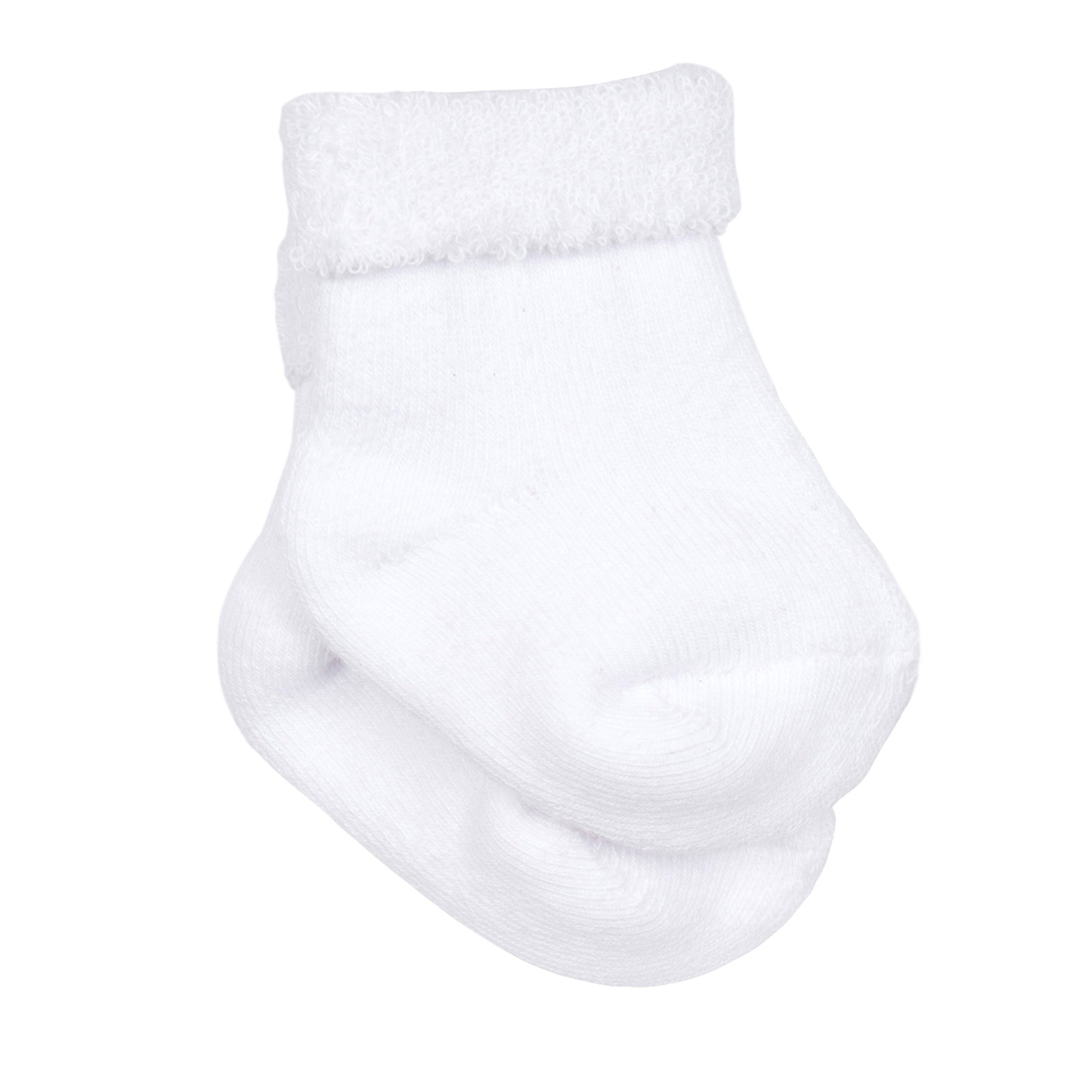8-Pair White Organic Wiggle-Proof Socks
