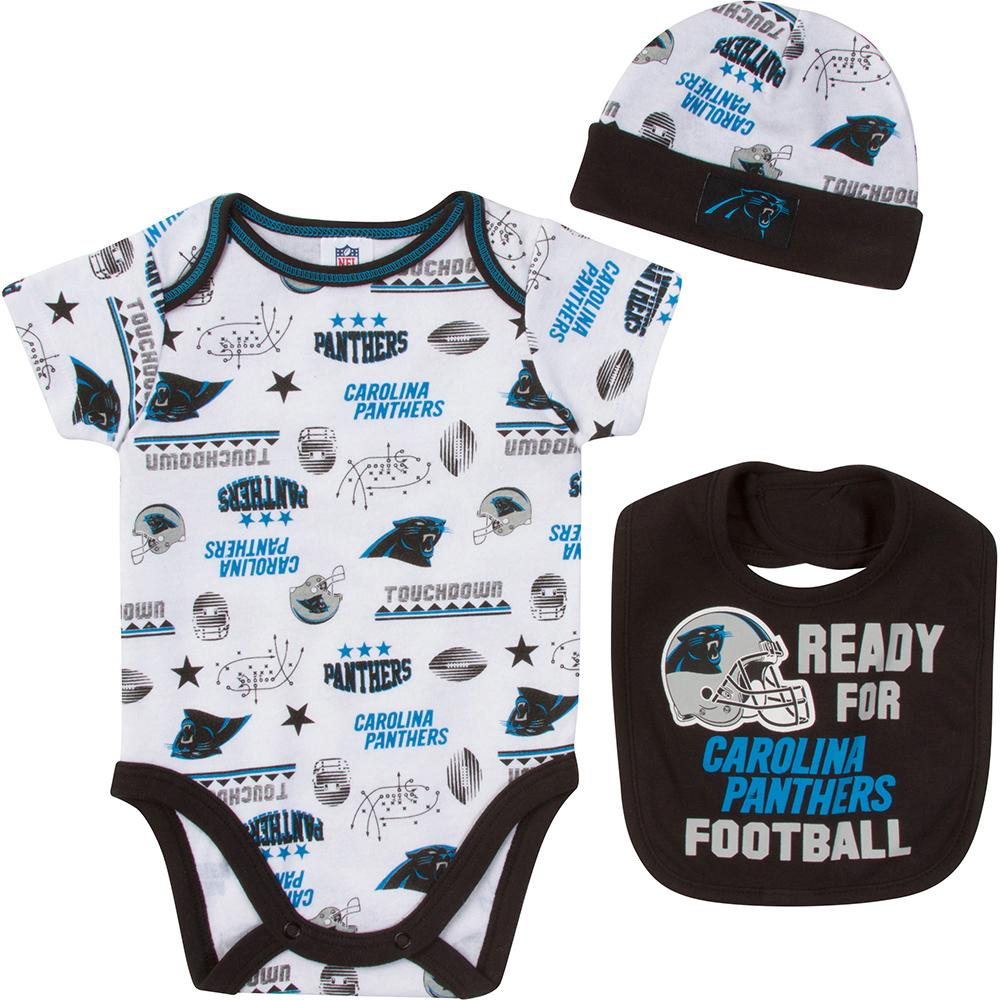 Panthers Baby Boy Bodysuit, Cap and Bib Set