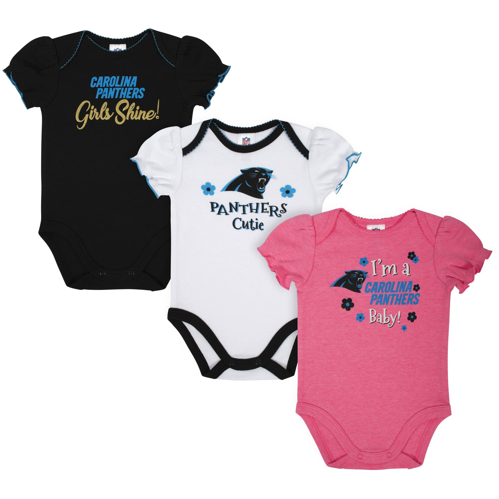 Baby Girls Carolina Panthers Short Sleeve Bodysuit, 3-pack-Gerber Childrenswear