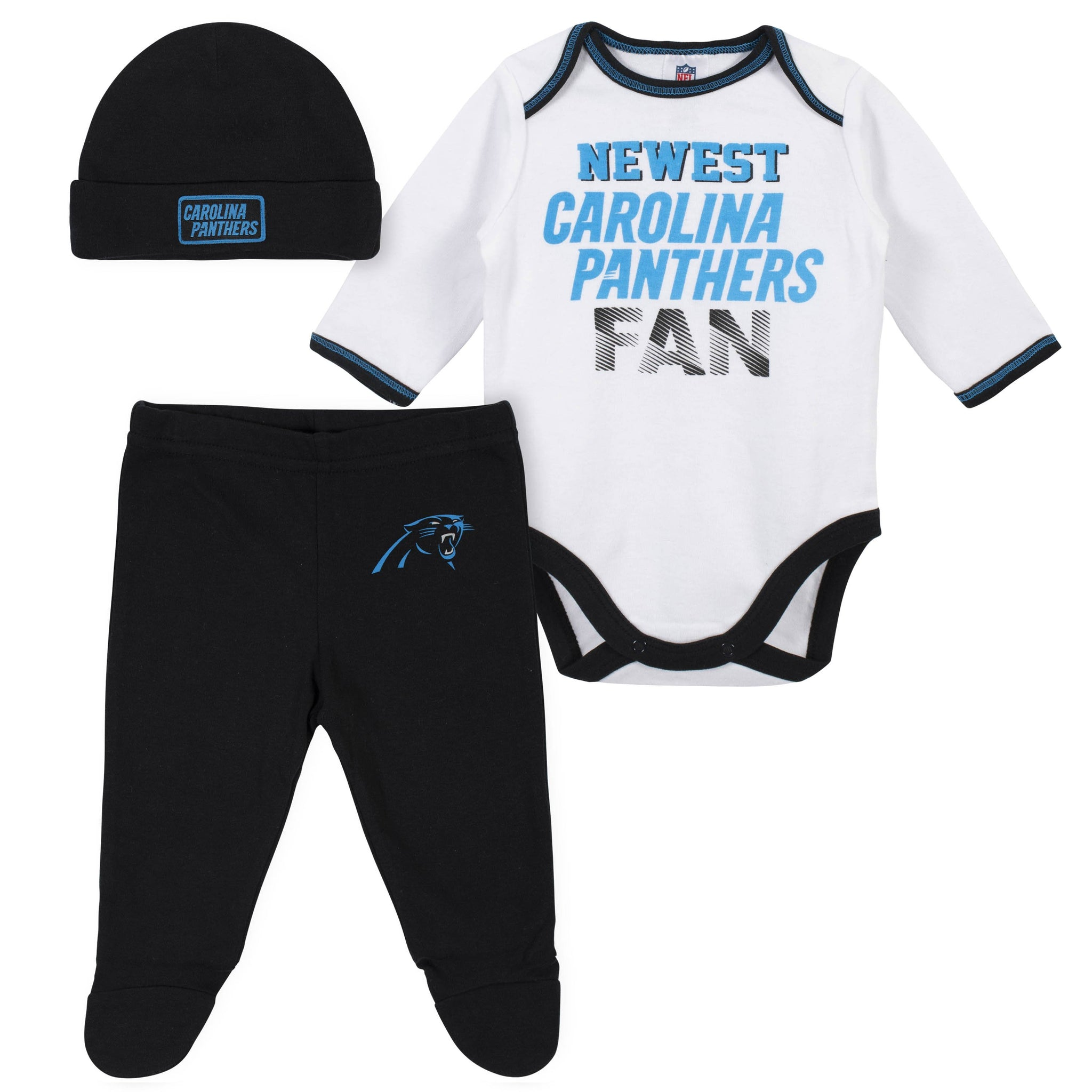 Baby Boys Carolina Panthers 3-Piece Bodysuit, Pant and Cap Set