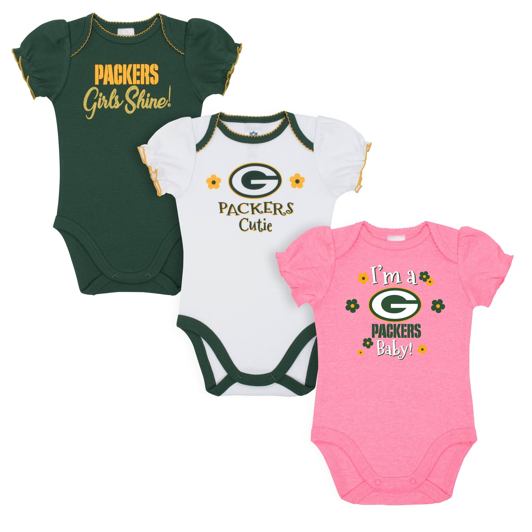 Baby Girls Green Bay Packers Short Sleeve Bodysuit, 3-pack-Gerber Childrenswear