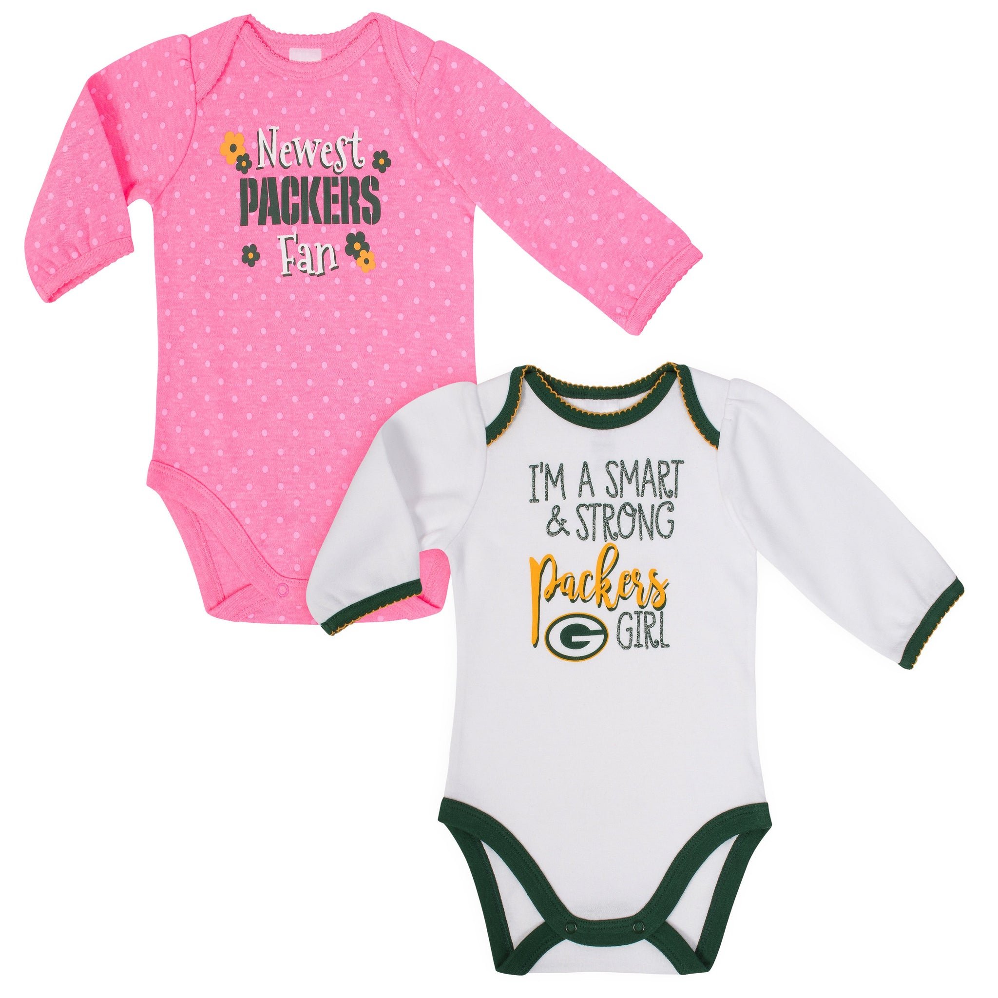 Green Bay Packers Baby Girl Long Sleeve Bodysuit, 2-pack