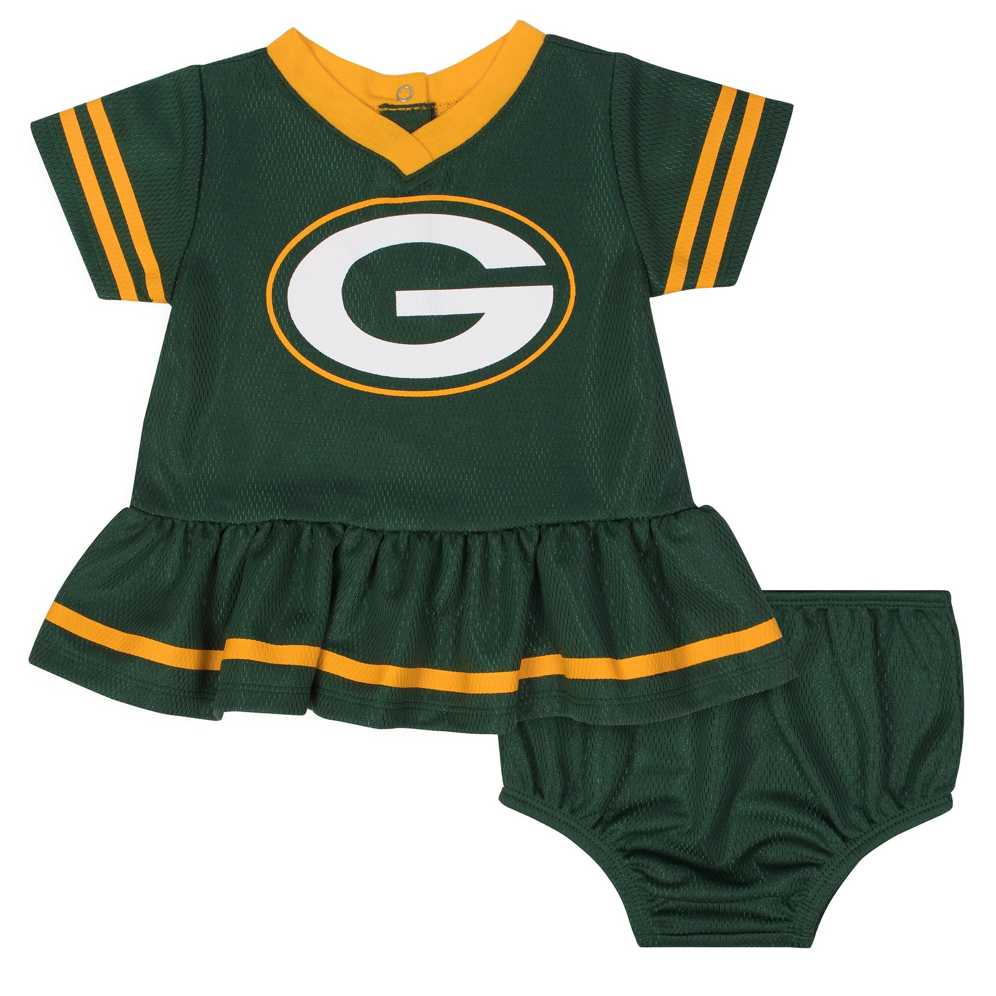 Baby Girls Green Bay Packers Cheerleader Dress and Panty Set