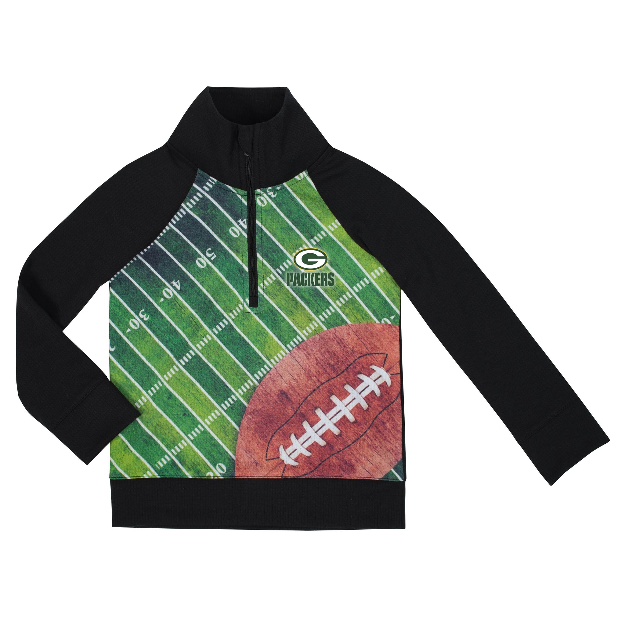 Green Bay Packers Boys 1/4 Zip Jacket-Gerber Childrenswear