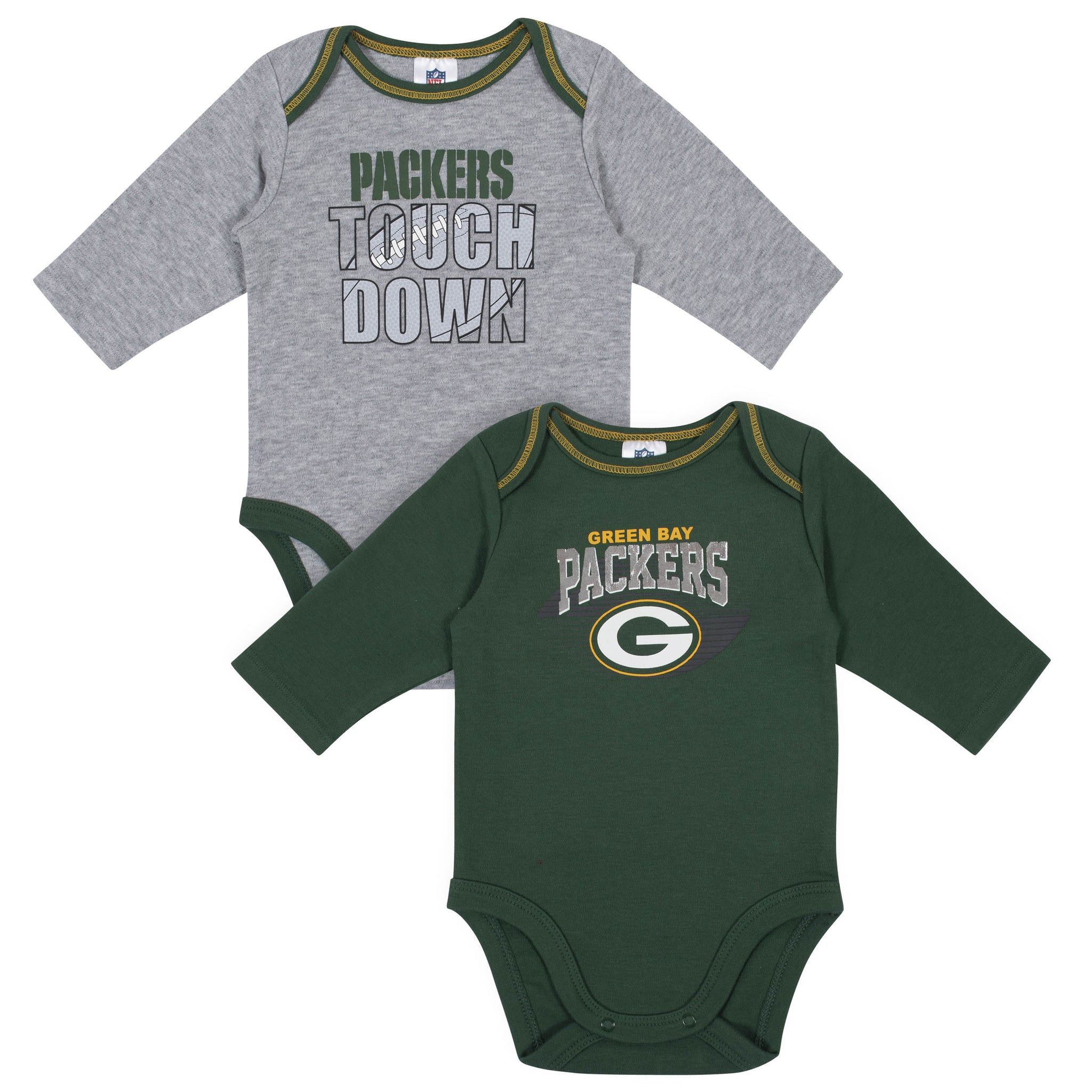 Baby Boys Green Bay Packers Long Sleeve Bodysuit, 2-pack -Gerber Childrenswear