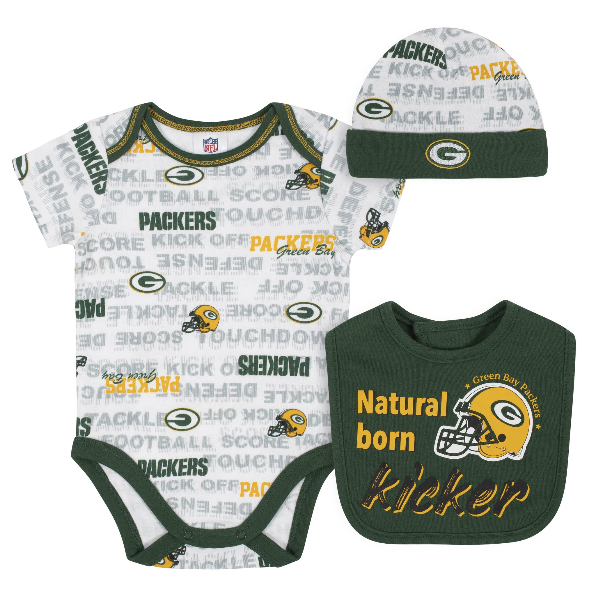 Baby Boys 3-Piece Green Bay Packers Bodysuit, Cap, and Bib Set-Gerber Childrenswear