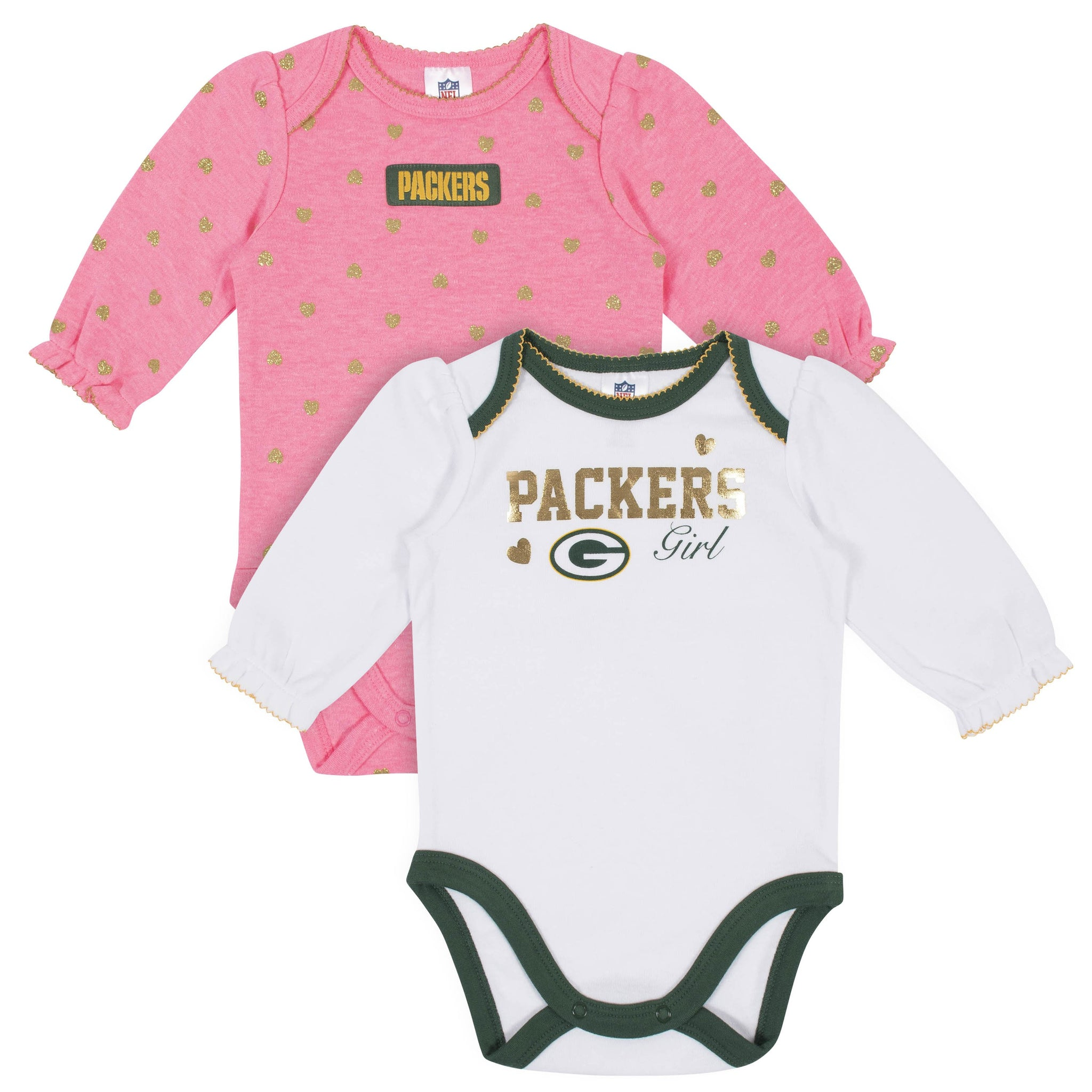Baby Girls Green Bay Packers Long Sleeve Bodysuit, 2-pack -Gerber Childrenswear