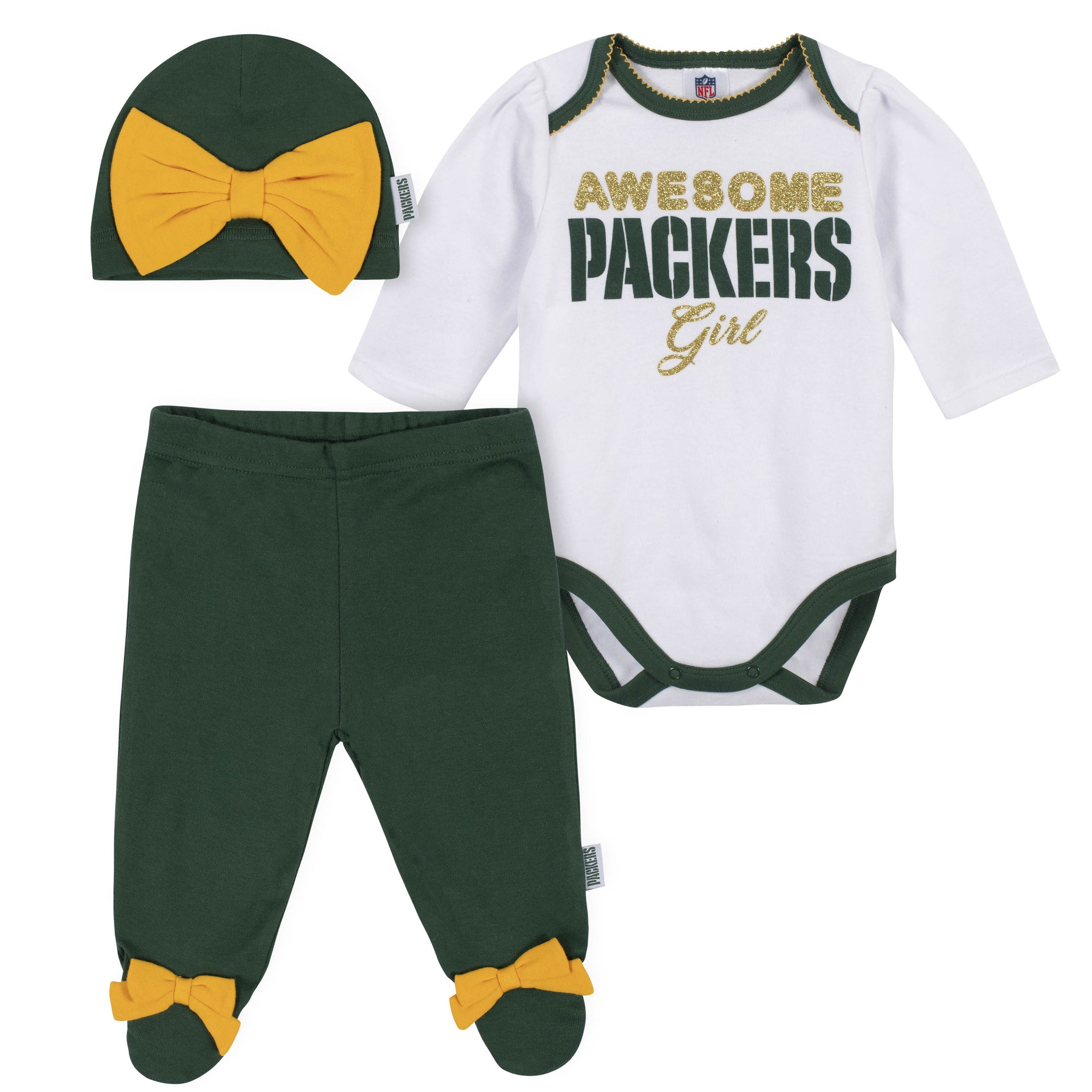 Baby Girls Green Bay Packers 3-Piece Bodysuit, Pant, and Cap Set