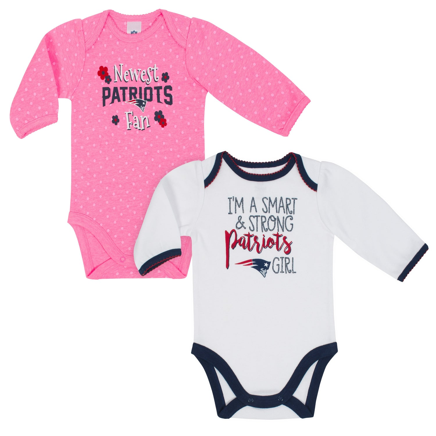 new style 1724b 413dd New England Patriots Baby Girl Long Sleeve Bodysuit, 2-pack