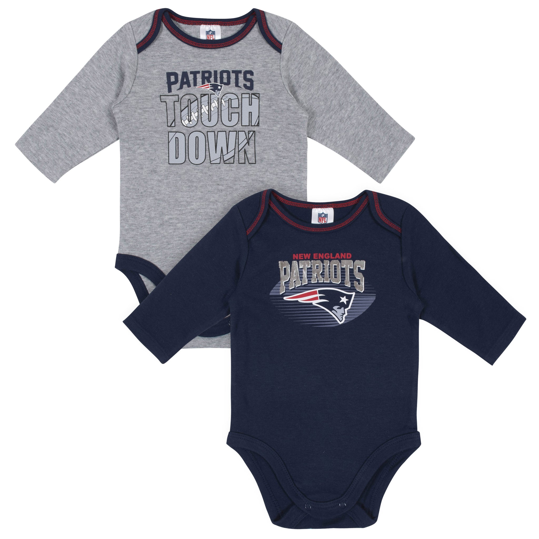 Baby Boys New England Patriots Long Sleeve Bodysuit, 2-pack -Gerber Childrenswear