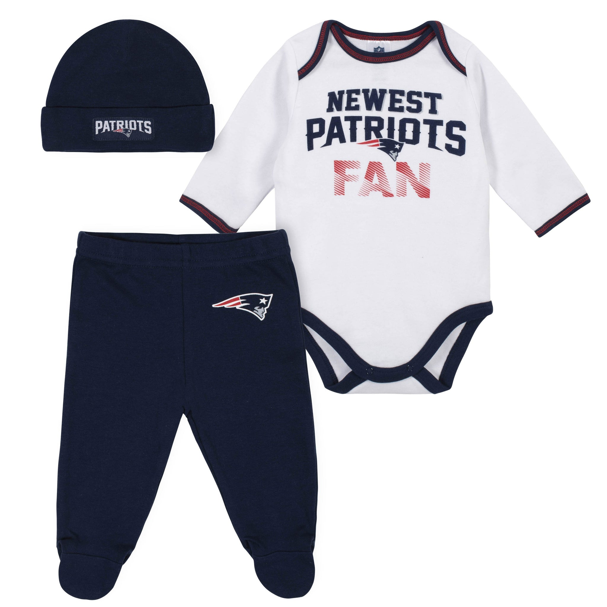 Baby Boys New England Patriots 3-Piece Bodysuit, Pant and Cap Set