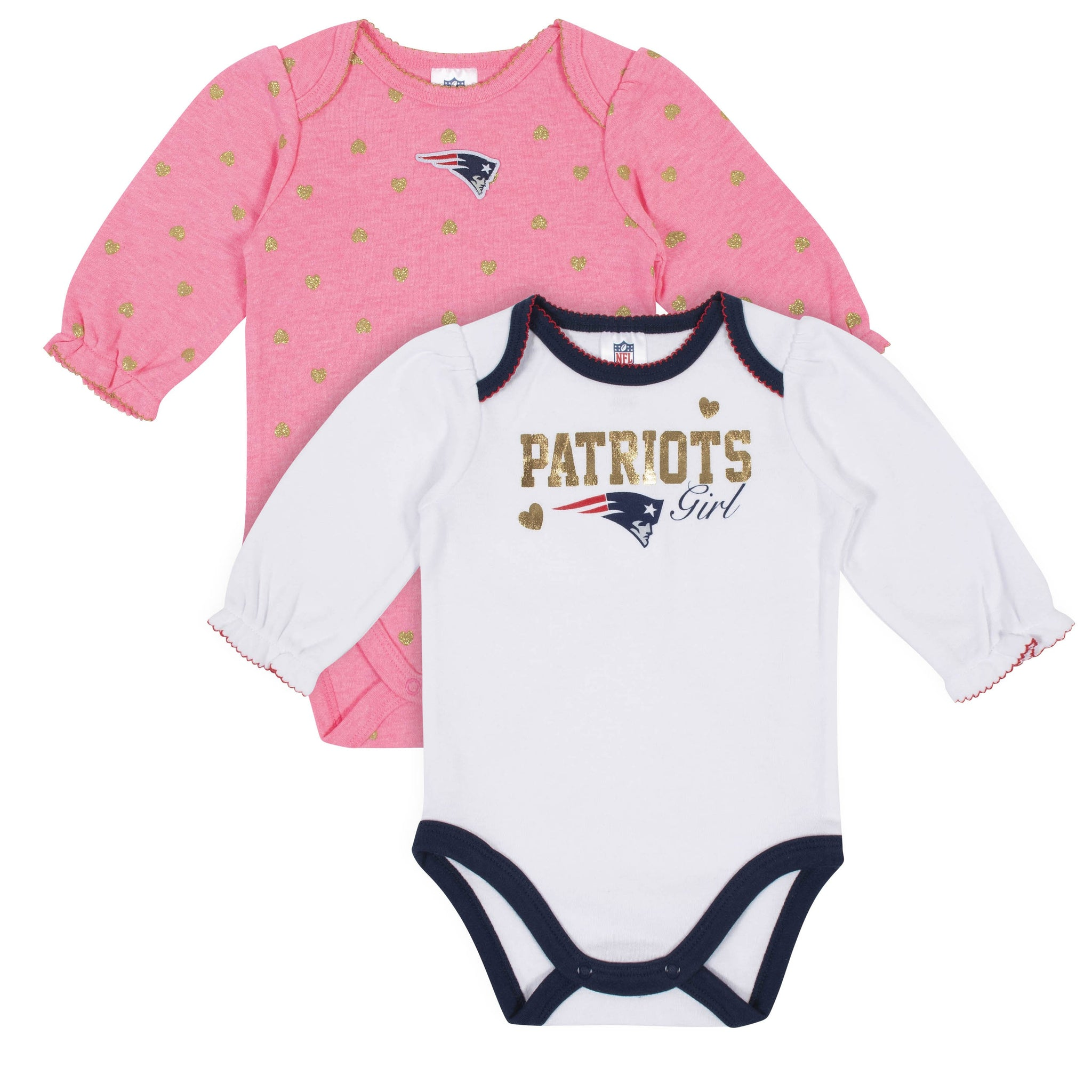 Baby Girls New England Patriots Long Sleeve Bodysuit, 2-pack -Gerber Childrenswear