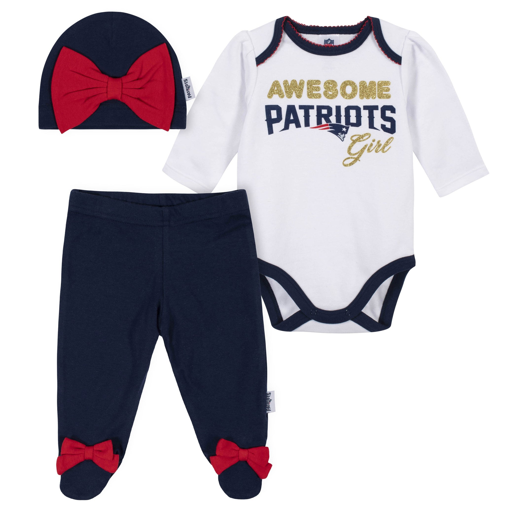 Baby Girls New England Patriots 3-Piece Bodysuit, Pant, and Cap Set