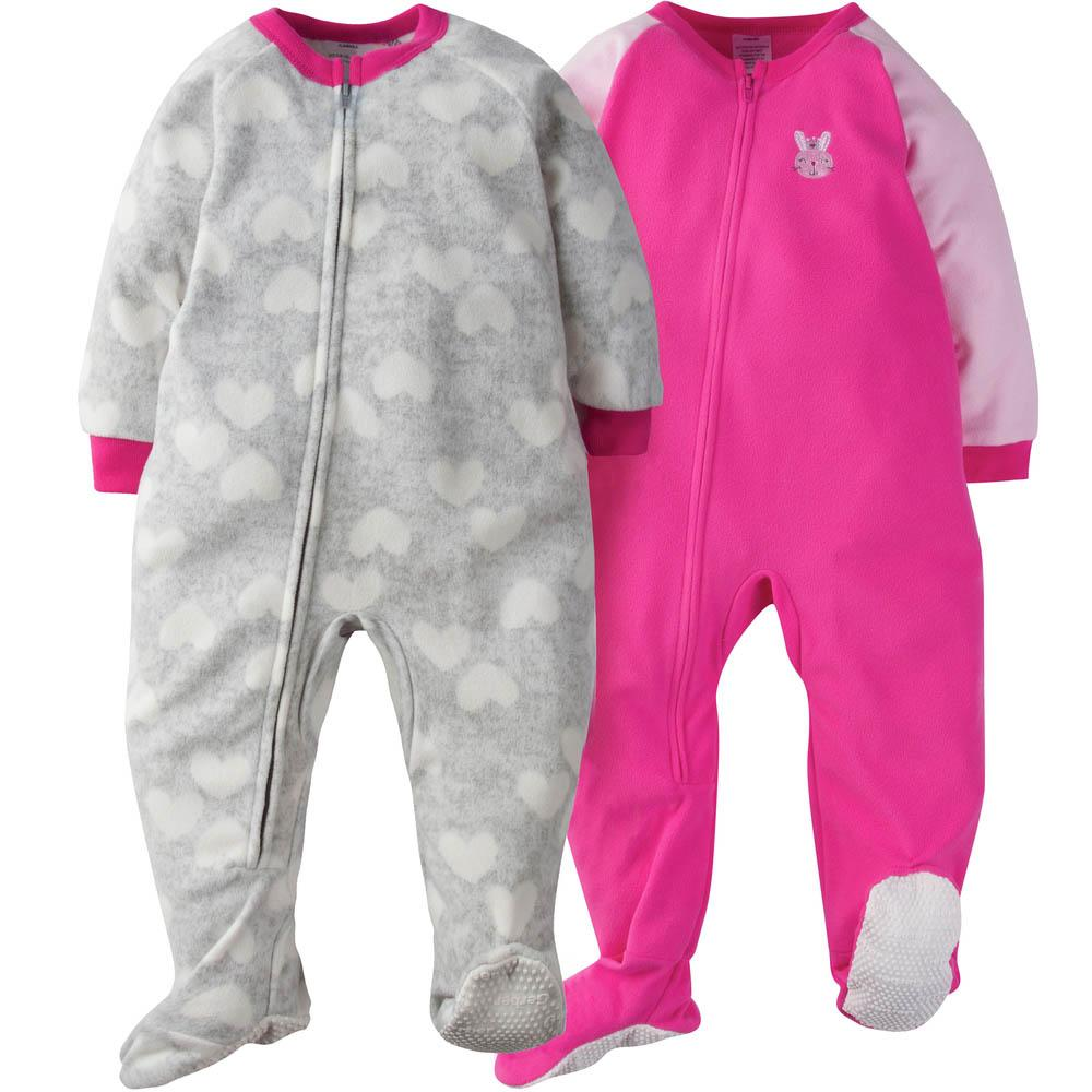 2-Pack Toddler Girl Pink Bunny Blanket Sleepers