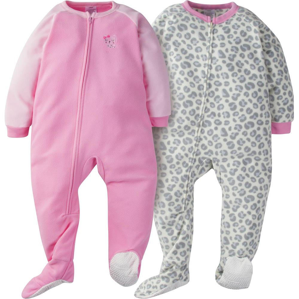 2-Pack Toddler Girls Pink Leopard Blanket Sleepers
