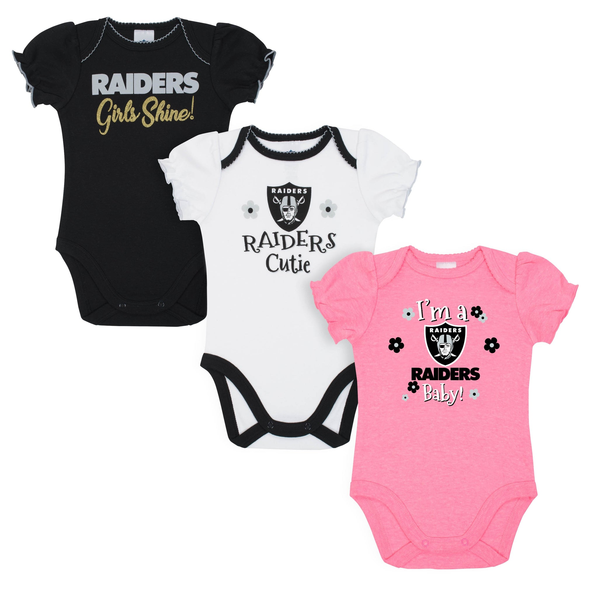 Oakland Raiders Baby Girl Short Sleeve Bodysuit, 3-pack