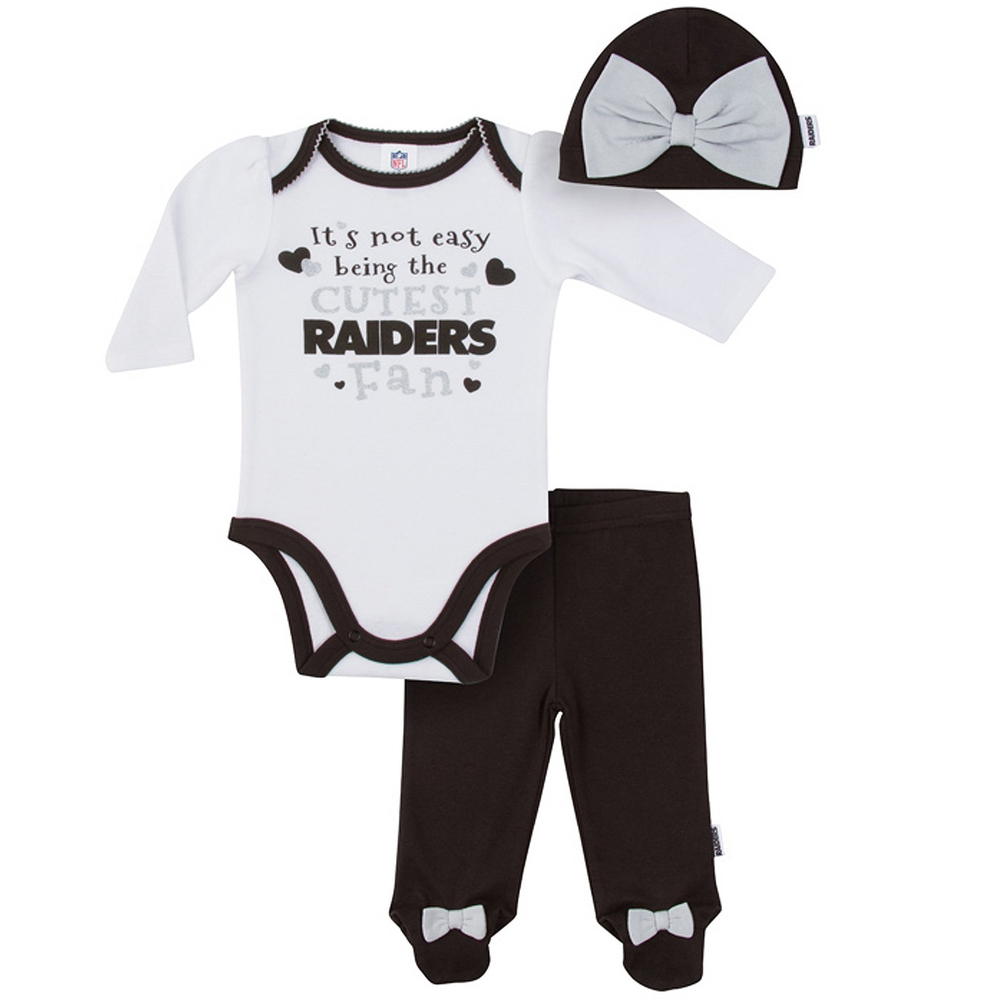 Oakland Raiders Baby Girl Outfit, 3pc Set