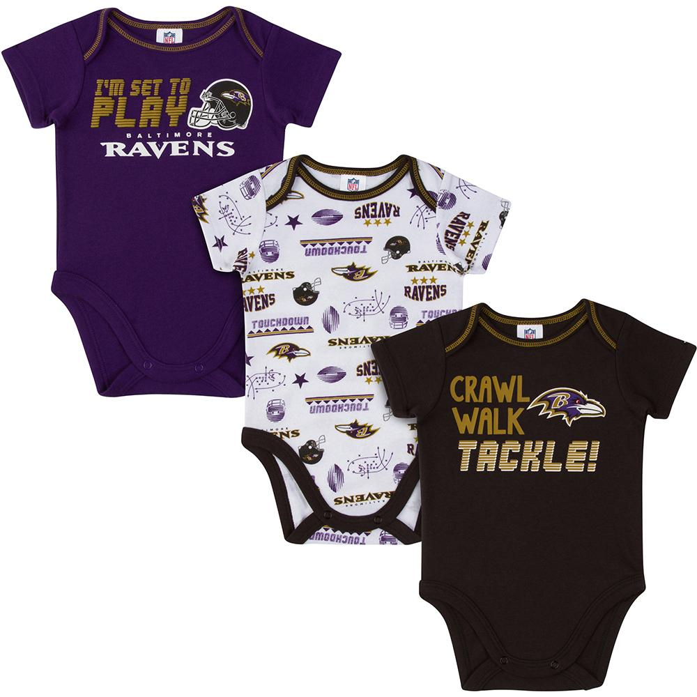 Ravens Baby Boys 3-Pack Short Sleeve Bodysuit