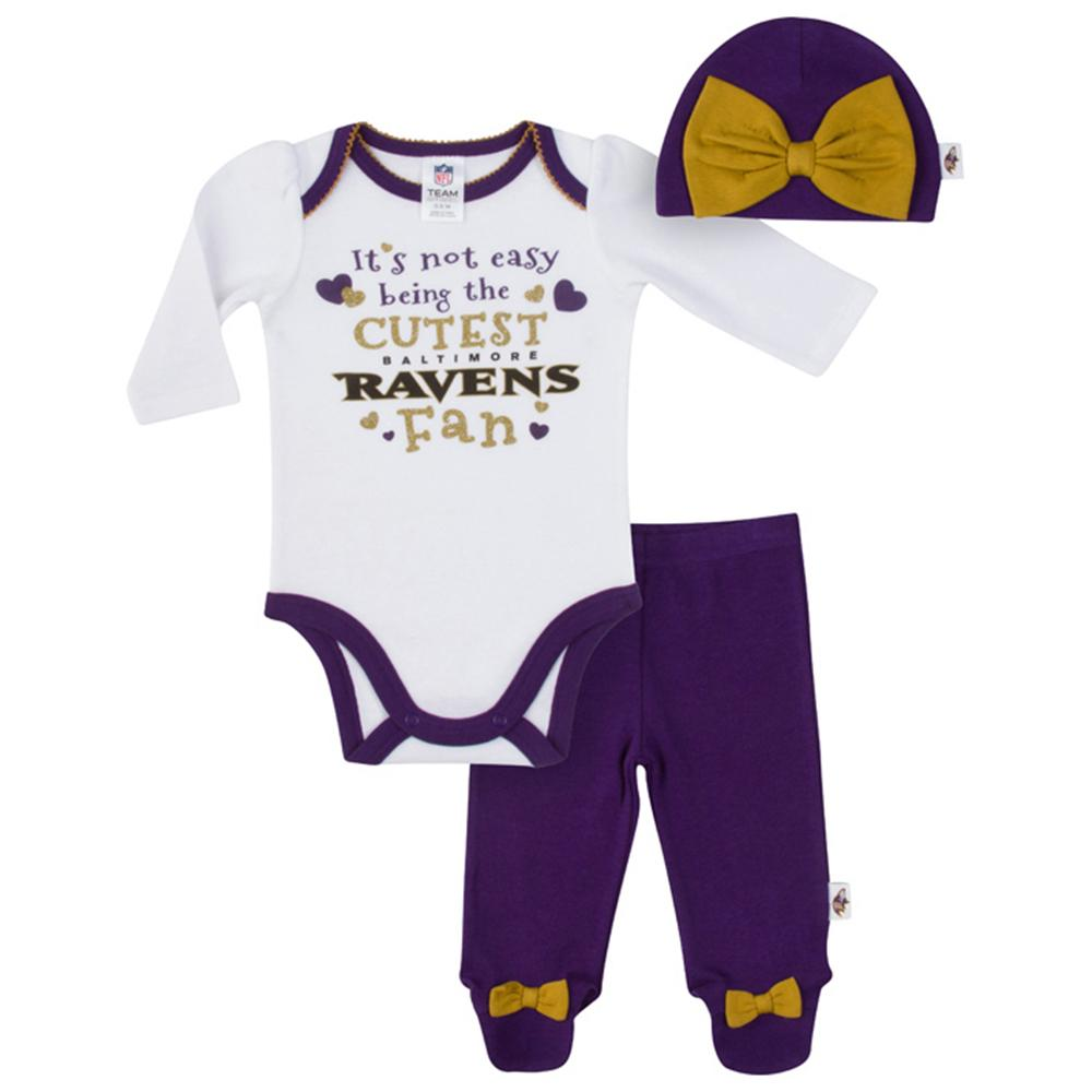 Ravens Baby Girls Bodysuit, Pant and Cap Set-Gerber Childrenswear