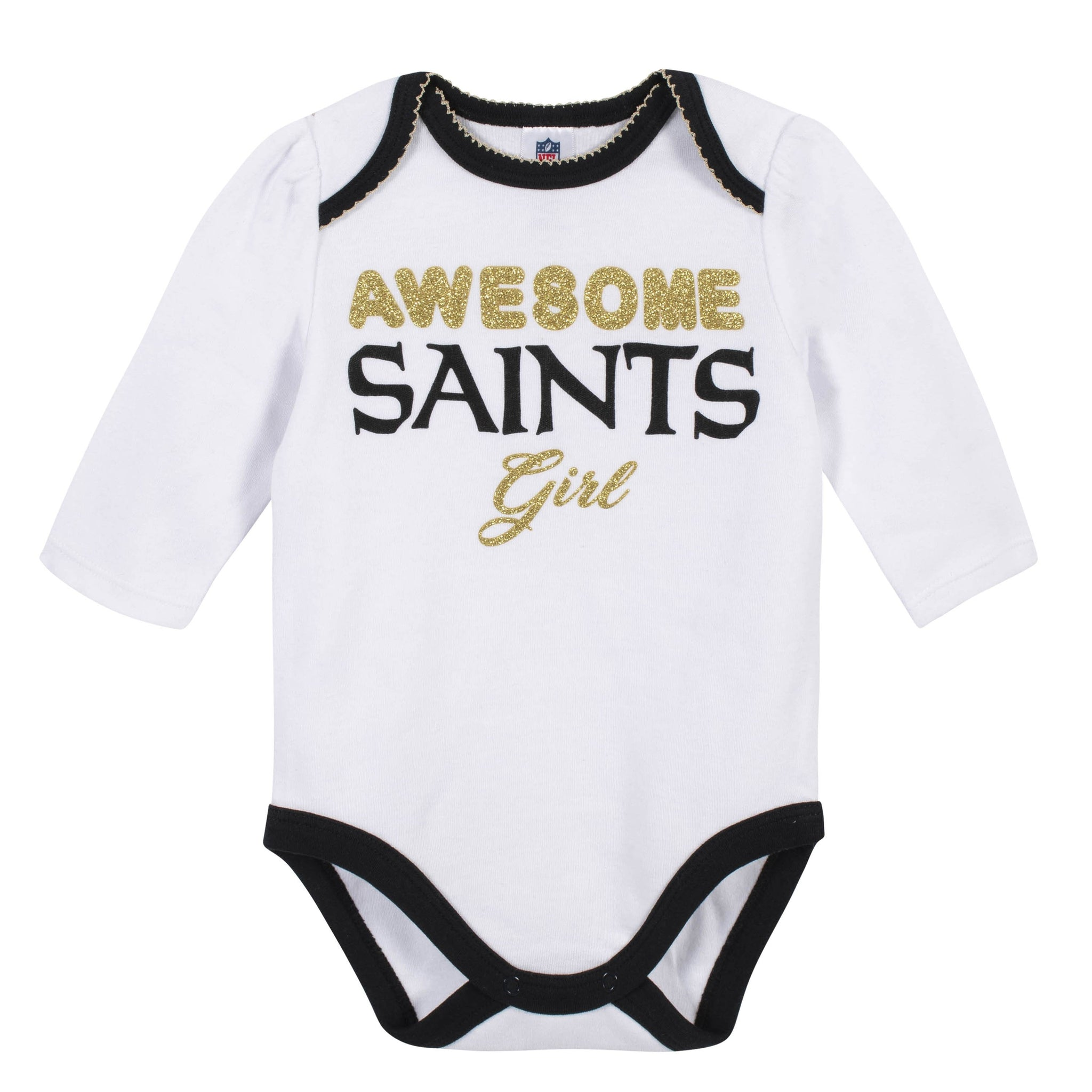 Baby Girls New Orleans Saints 3-Piece Bodysuit, Pant, and Cap Set