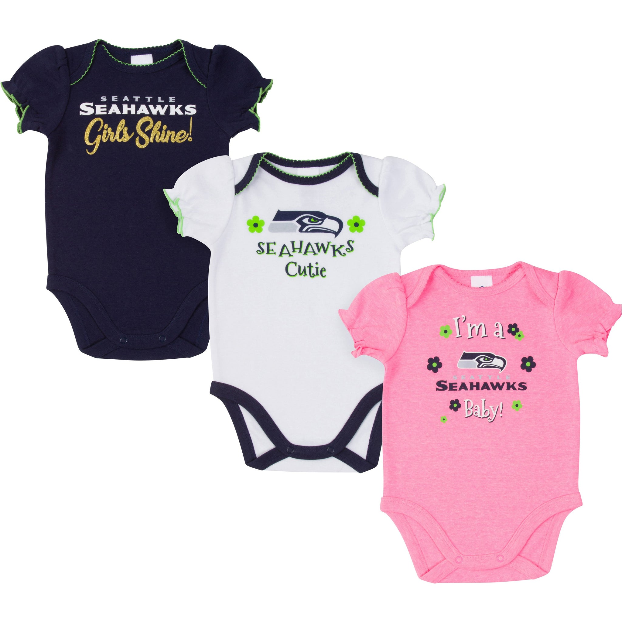 Seattle Seahawks Baby Girl Short Sleeve Bodysuit, 3-pack -Gerber Childrenswear