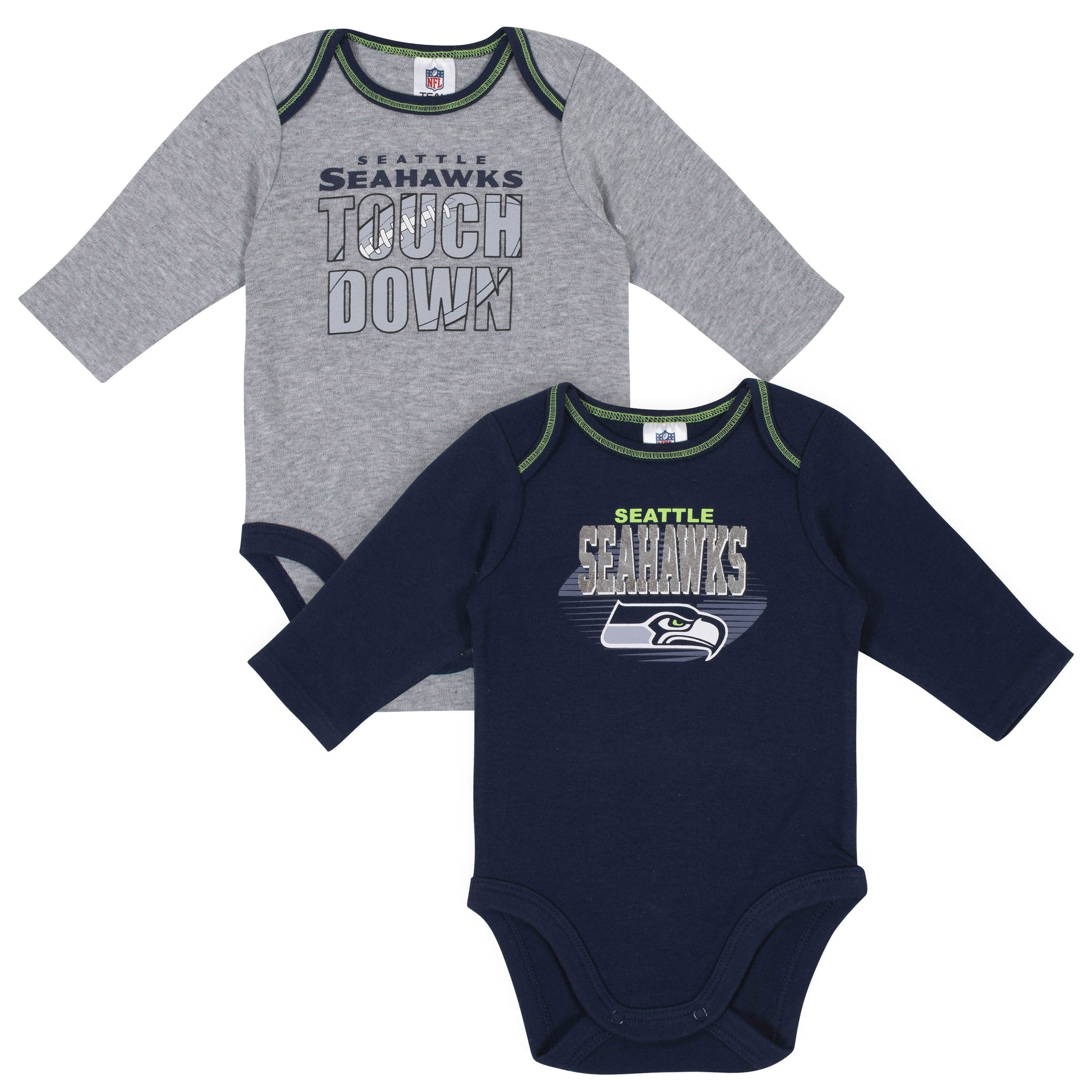 Baby Boys Seattle Seahawks Long Sleeve Bodysuit, 2-pack -Gerber Childrenswear