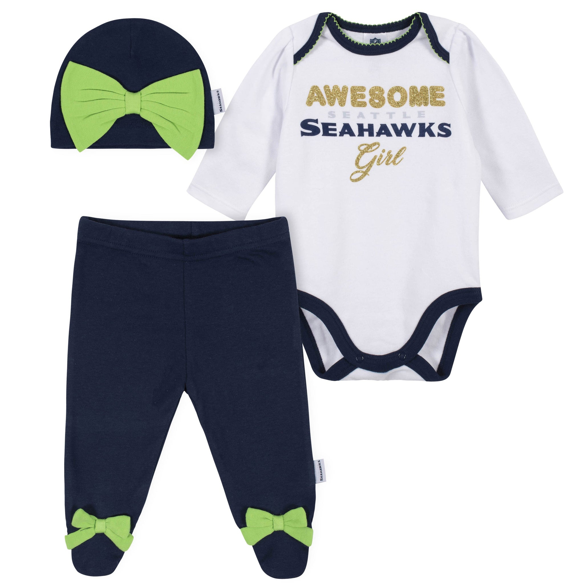 Baby Girls Seattle Seahawks 3-Piece Bodysuit, Pant, and Cap Set