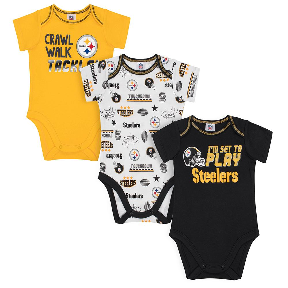 Steelers Baby Boys 3-Pack Short Sleeve Bodysuit-Gerber Childrenswear