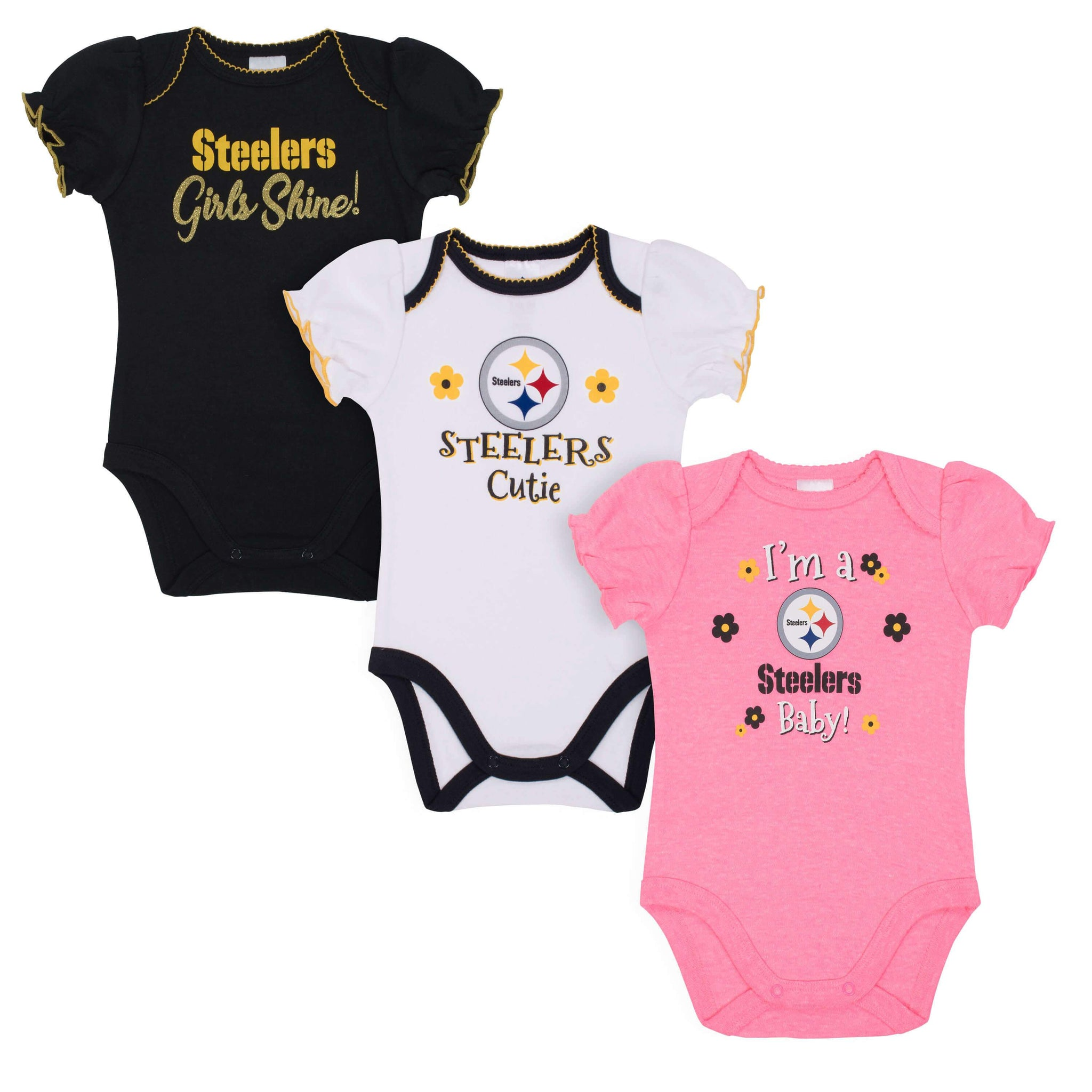 Baby Girls Pittsburgh Steelers Short Sleeve Bodysuit, 3-pack-Gerber Childrenswear