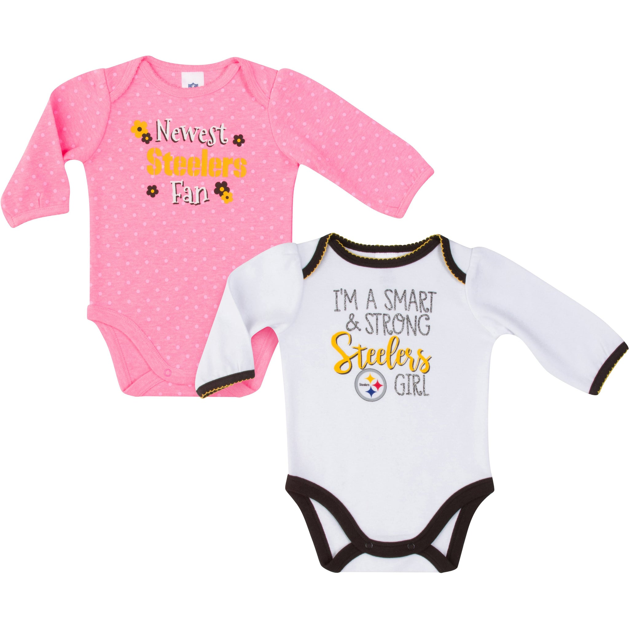 Pittsburgh Steelers Baby Girl Long Sleeve Bodysuit, 2-pack -Gerber Childrenswear