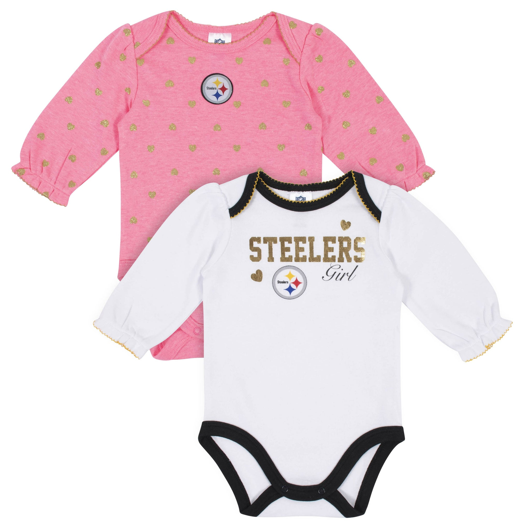 Baby Girls Pittsburgh Steelers Long Sleeve Bodysuit, 2-pack -Gerber Childrenswear
