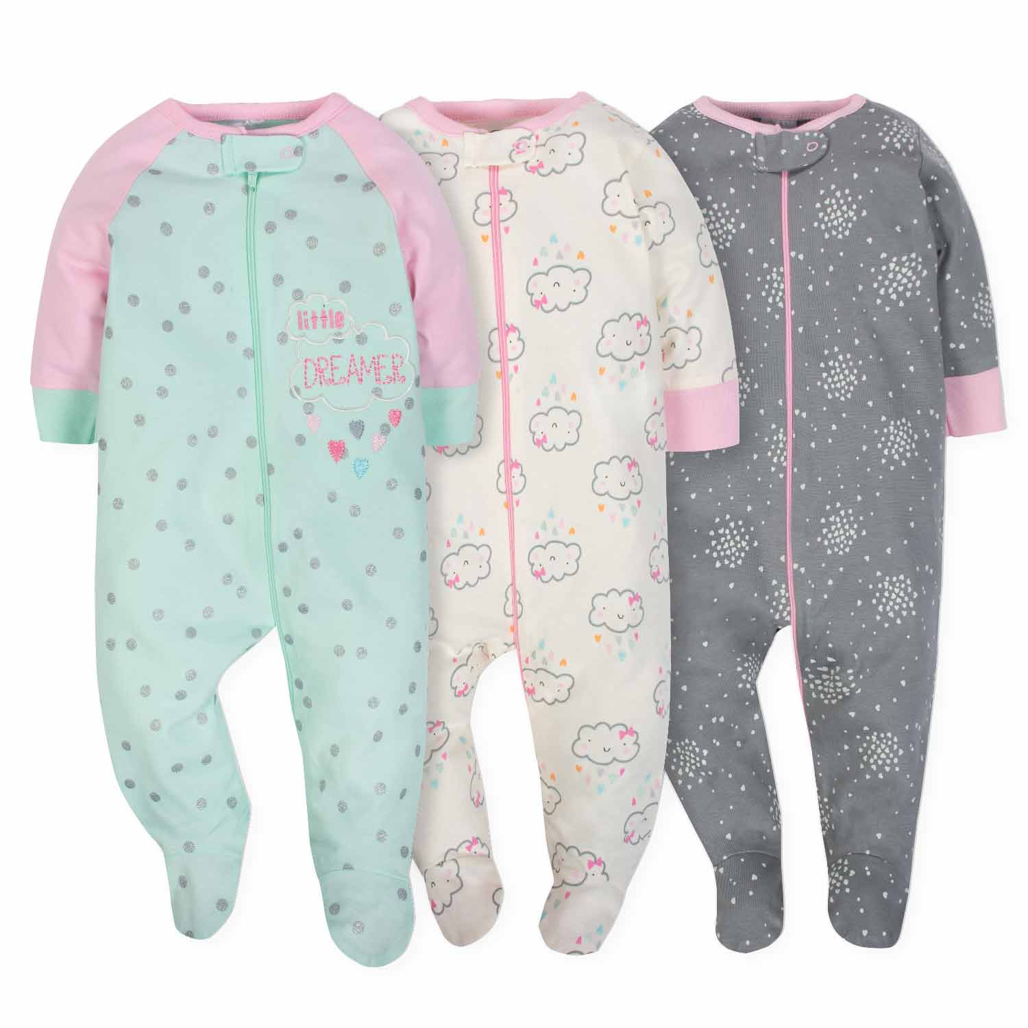 3-Pack Girls Clouds Sleep N' Play