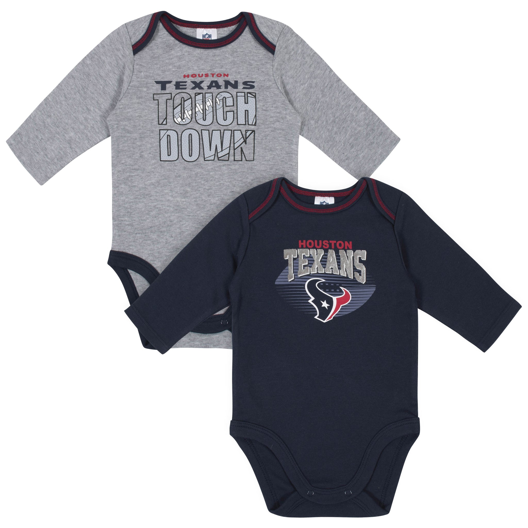 Baby Boys Houston Texans Long Sleeve Bodysuit, 2-pack -Gerber Childrenswear