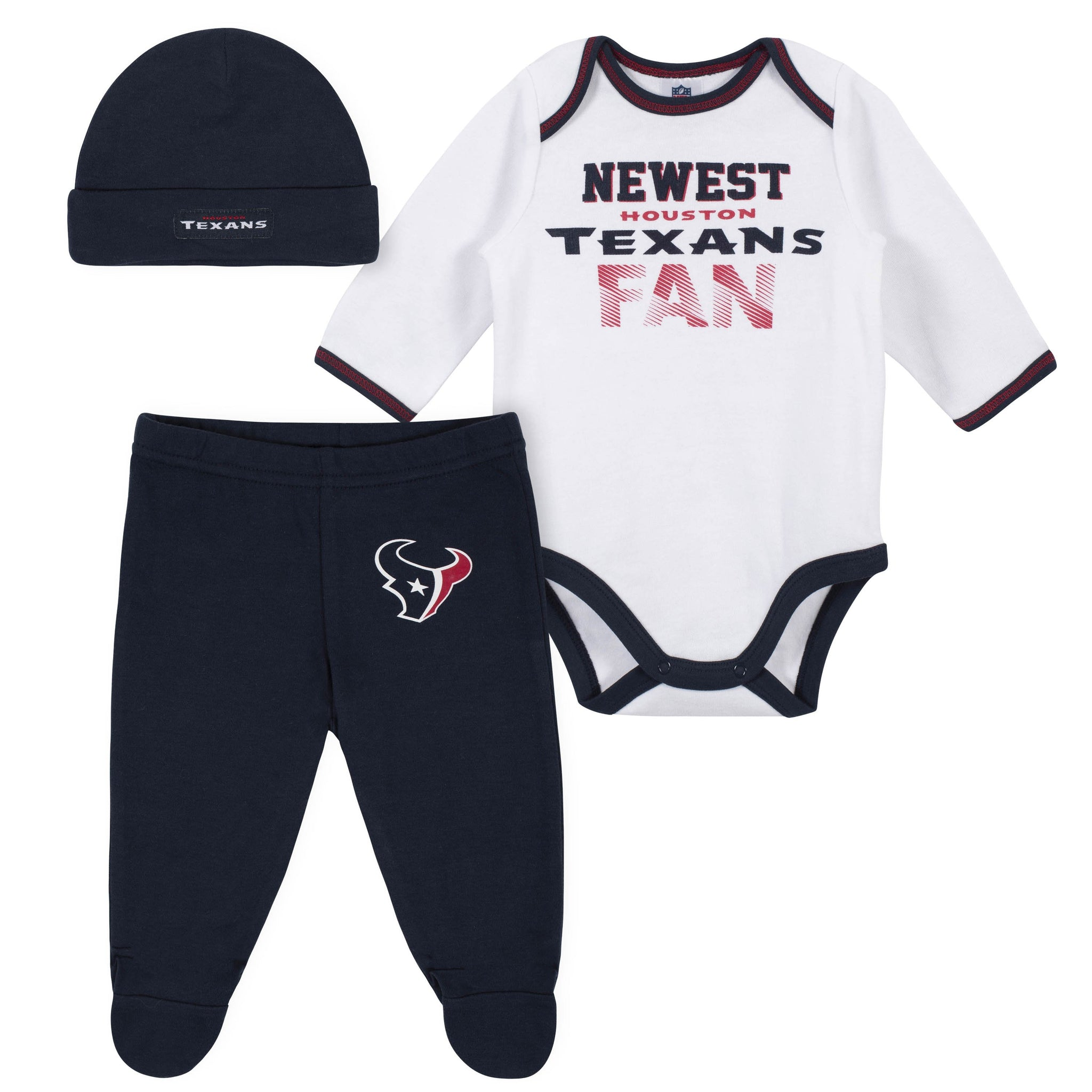 Baby Boys Houston Texans 3-Piece Bodysuit, Pant and Cap Set