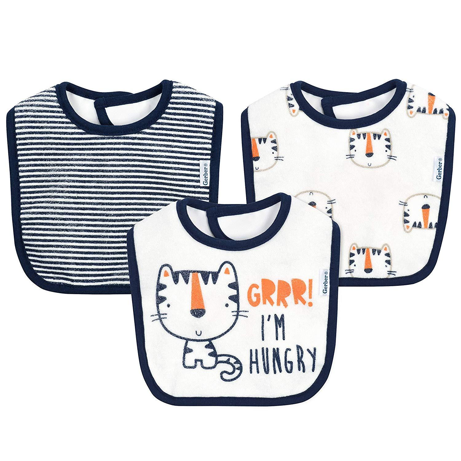 3-Pack Boys Tiger Dribbler Bibs-Gerber Childrenswear