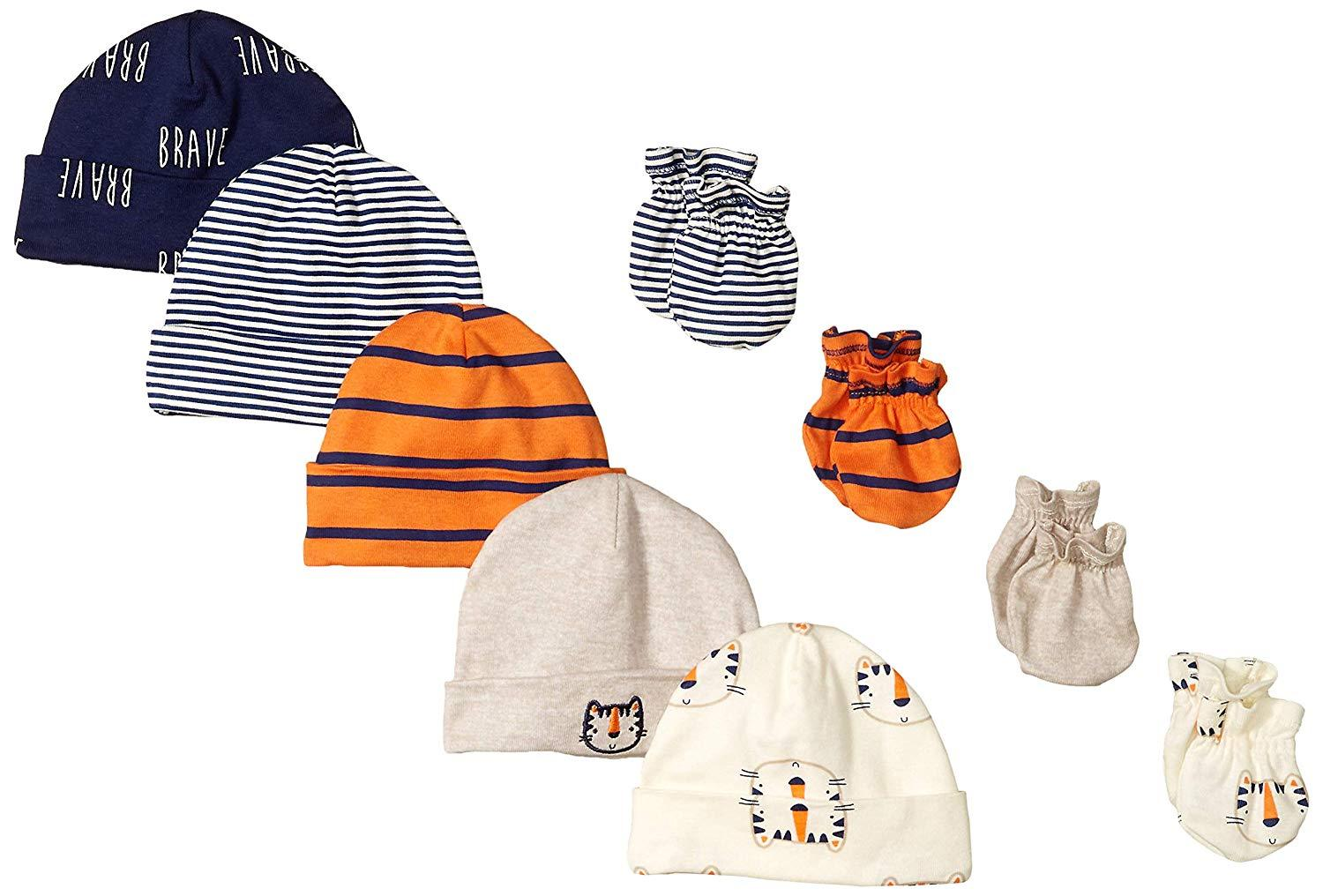 9-Piece Boys Tiger Cap & Mittens Set
