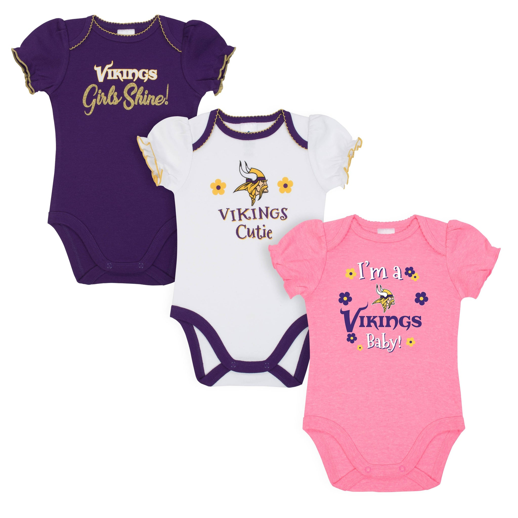 Minnesota Vikings Baby Girl Short Sleeve Bodysuit, 3-pack -Gerber Childrenswear