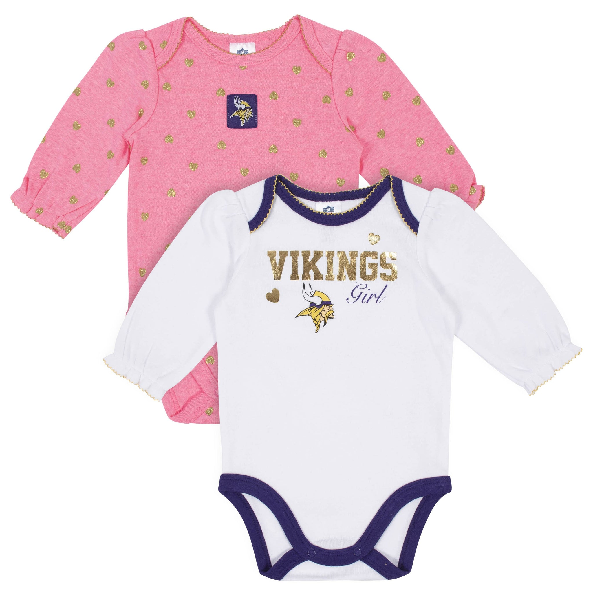 Baby Girls Minnesota Vikings Long Sleeve Bodysuit, 2-pack -Gerber Childrenswear