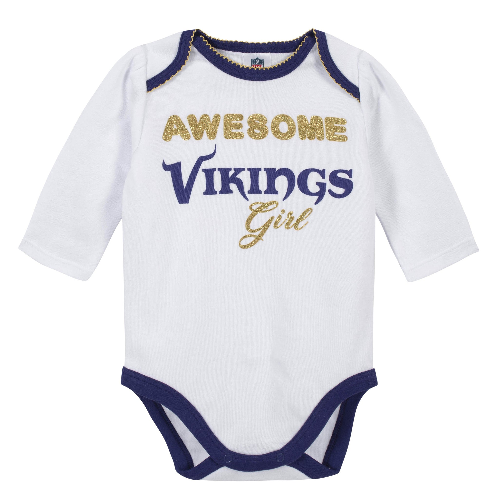 Baby Girls Minnesota Vikings 3-Piece Bodysuit, Pant, and Cap Set-Gerber Childrenswear