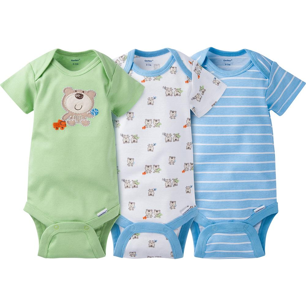 3 Pack Boys Bear Onesies 174 Brand Short Sleeve Bodysuits