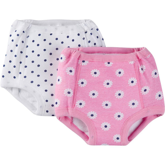 2 Pack Girls Pink Daisy Training Pants With Peva Lining Gerber