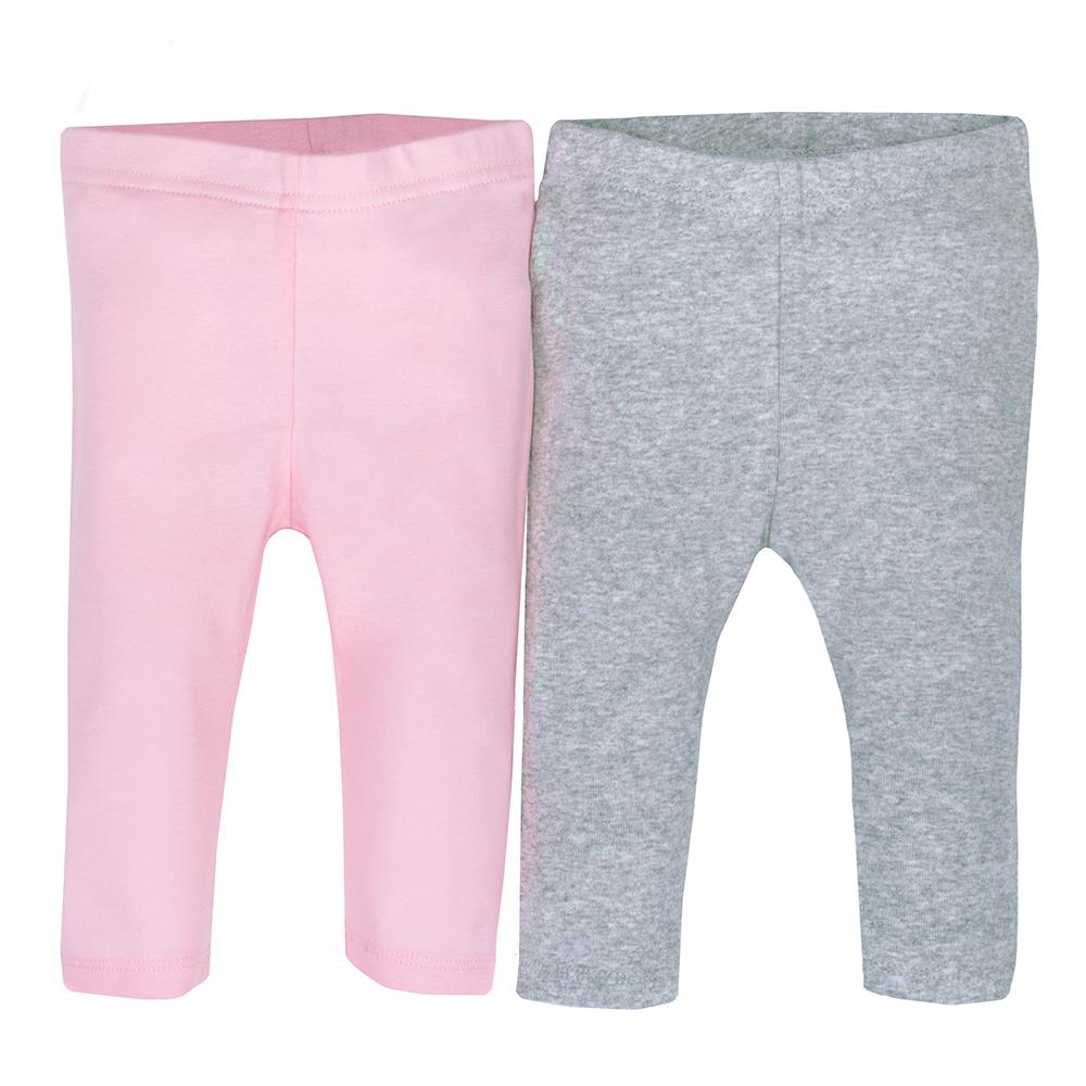 2-pack Organic Girls Pink & Grey Ruffle Bottom Slim Pant