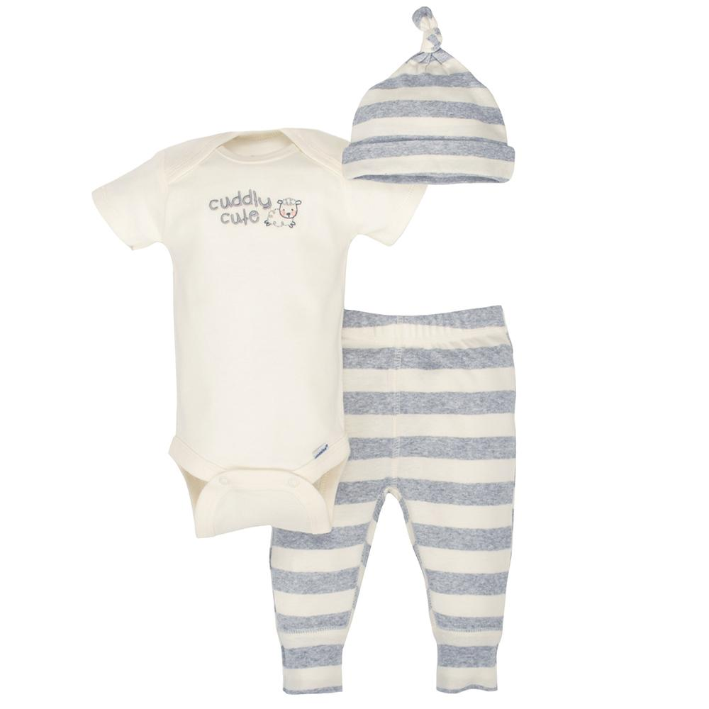 3-Piece Gerber Organic Neutral Grey Lamb Take-Me-Home Set-Gerber Childrenswear