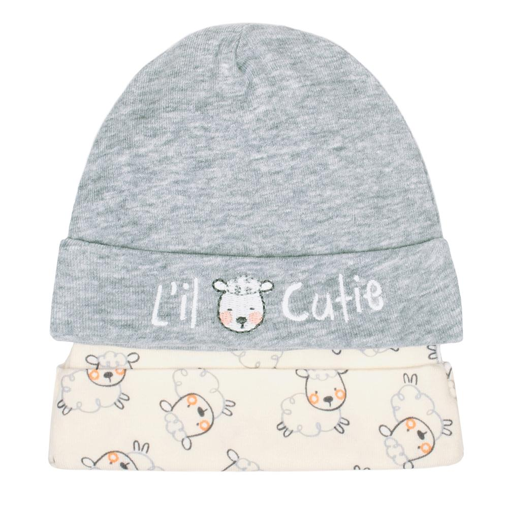 4-Piece Organic Neutral Grey Lamb Cap & Mittens Set