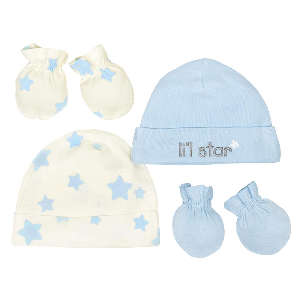 4-Piece Organic Boys Li'l Star Cap & Mittens Set