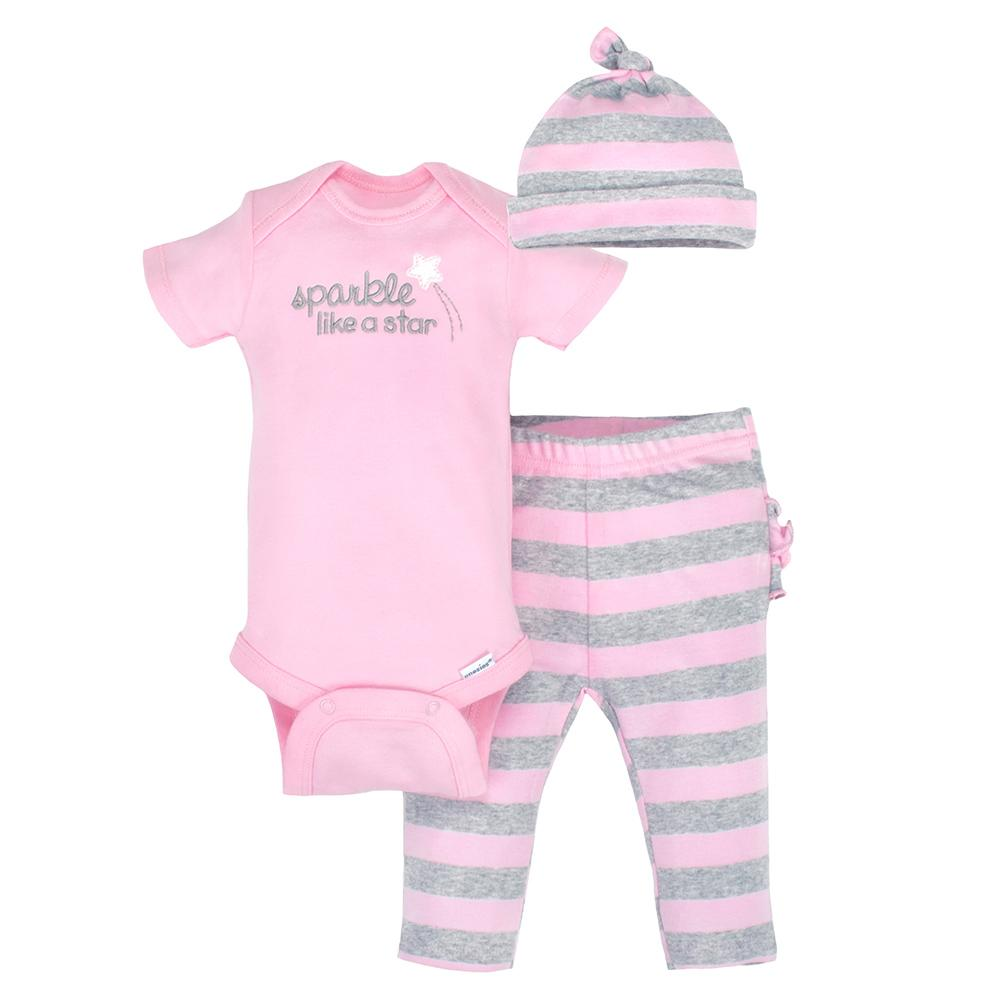 3-Piece Organic Girls Pink & Grey Take-Me-Home Set