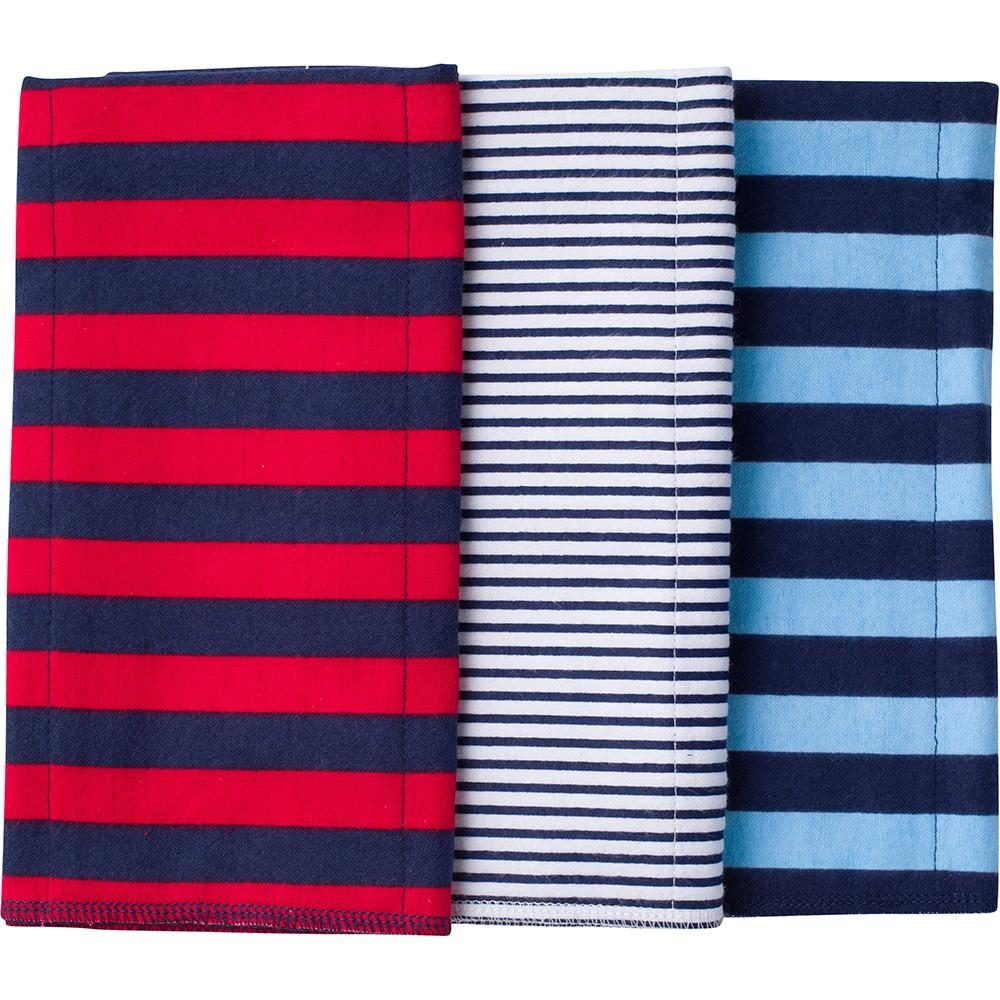 3-Pack Boys Red & Navy Flannel Burpcloths