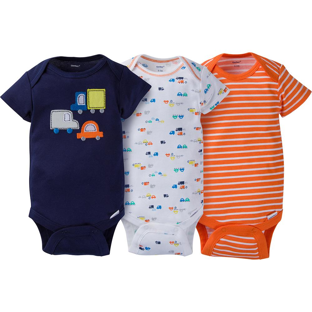 cf4a9abecd27 3-Pack Boys Transportation Onesies® Brand Short Sleeve Bodysuits